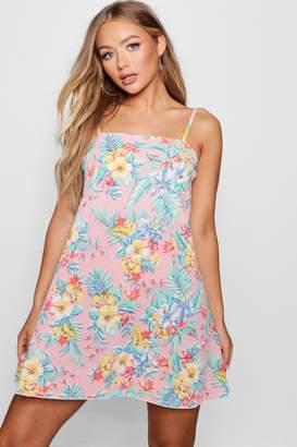boohoo Tropical Print Square Neck Cami Dress