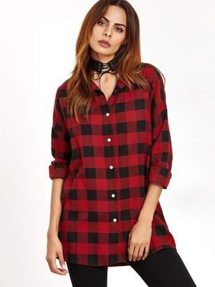 Shein Check Plaid Longline Shirt