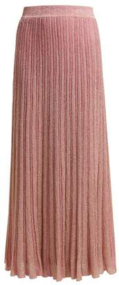 Missoni Ribbed Knit Lame Skirt - Womens - Light Pink