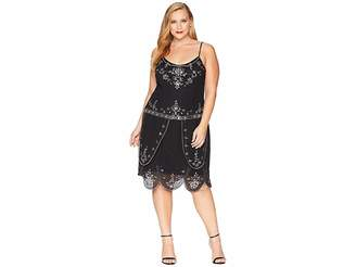 Unique Vintage Plus Size Deco Style Embellished Odette Cocktail Dress