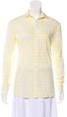 ATM Anthony Thomas Melillo Long-Sleeve Gingham-Printed Top w/ Tags