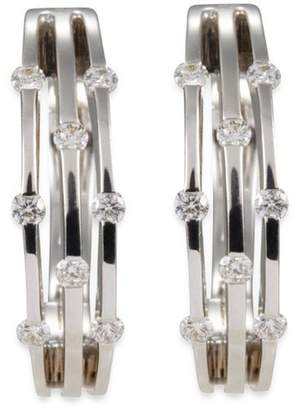 Roberto Coin Diamond 18k white gold cutout hoop earrings