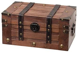 Trunks SLPR Alexander Wooden Trunk Chest with Straps | Decorative Treasure Stash Box Old-Fashioned Antique Vintage Style for Birthday Parties Wedding Decoration