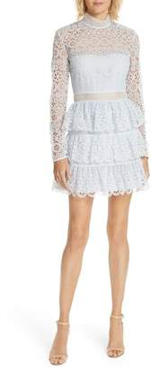 Self-Portrait Tiered Scalloped Lace Dress