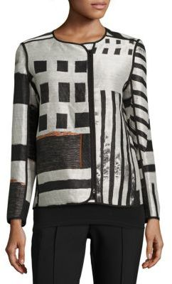 Lafayette 148 New York Darcia Printed Jacquard Jacket $898 thestylecure.com