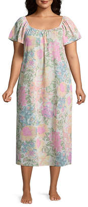 Asstd National Brand Woven Short Sleeve Square Neck Nightgown-Plus