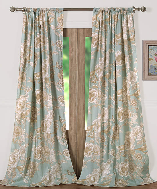 Blue Naomi Curtain Panel - Set of Two