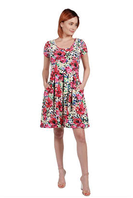 24/7 Comfort Apparel 24Seven Comfort Apparel Ellie Black and Red Multicolor Empire Waist Mini Dress - Plus