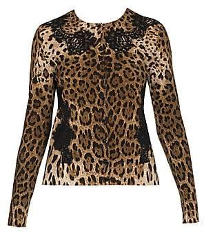 Dolce & Gabbana Women's Lace Detail Wool-Blend Leopard Print Cardigan