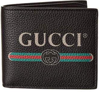 Gucci Logo Print Leather Bifold Wallet