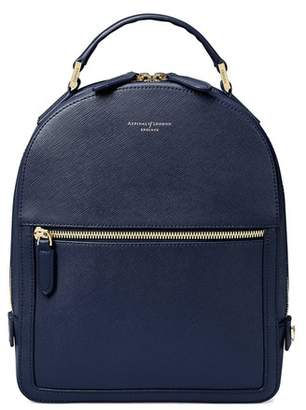 Aspinal of London Small Mount Street Backpack In Navy Saffiano