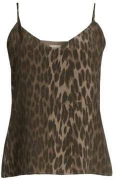 L'Agence Jane Leopard Print Silk Tank Top