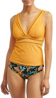 Time and Tru Women's Ladder Trim Tankini Swimsuit Top