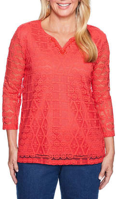 Alfred Dunner Out Of The Blue 3/4 Sleeve Split Crew Neck Lace Overlay Top -Womens