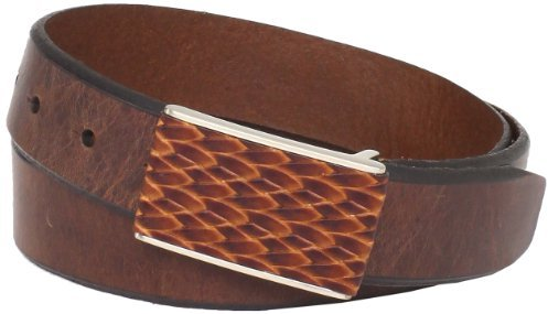 Tommy Bahama Men's Braided Inlay Plaque Buckle Belt