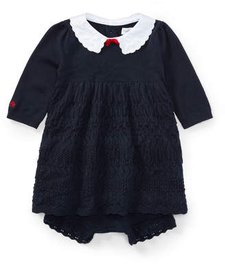 Ralph Lauren Scallop-Hem Knit Dress w/ Bloomers, Size 3-24 Months