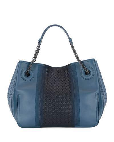 Bottega VenetaBottega Veneta Double-Chain Intrecciato Tote Bag, Medium Blue