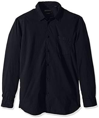 French Connection Men's Overdyed Poplin Long Sleeve Button Down Shirt