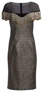 Teri Jon by Rickie Freeman Illusion Fringe Metallic Jacquard Midi Dress