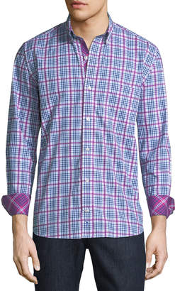Tailorbyrd Men's Madras-Plaid Button-Down Sport Shirt