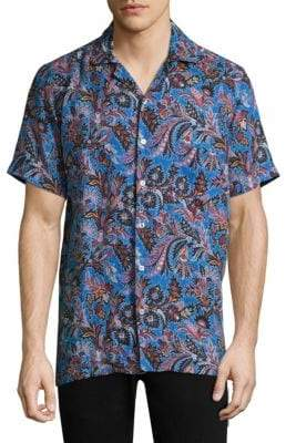 Etro Floral Paisley Linen Button-Down Shirt