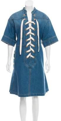 Gucci Denim Lace-Up Dress w/ Tags