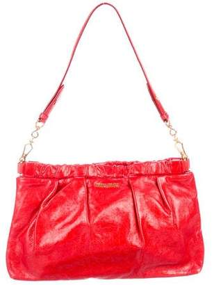 Miu Miu Pleated Distressed Leather Shoulder Bag