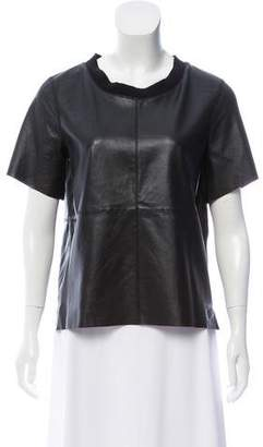 Trina Turk Leather Short Sleeve Top