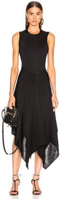 Victoria Beckham Cross Back Asymmetric Midi Dress in Black | FWRD