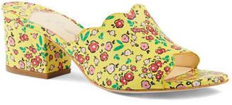 Isa Tapia Chiqui Floral-Print Block-Heel Slide Sandals
