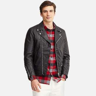 Uniqlo Men's Faux Leather Double-breasted Jacket