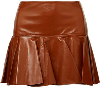 Chloé Pleated Glossed-leather Mini Skirt - Brown