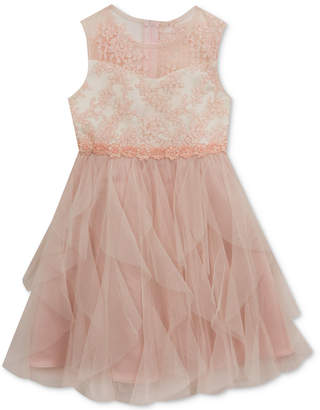 Rare Editions Floral-Embroidered Bodice Dress, Toddler Girls