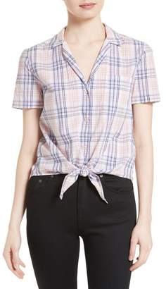 Equipment Keira Tie Front Plaid Cotton Shirt