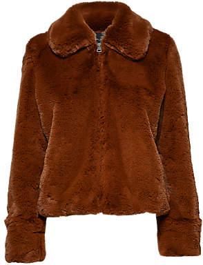 Selected Aya Faux Fur Jacket, Tortoiseshell