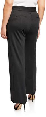 Neiman Marcus Boot-Leg Front-Seam Suiting Pants, Plus Size