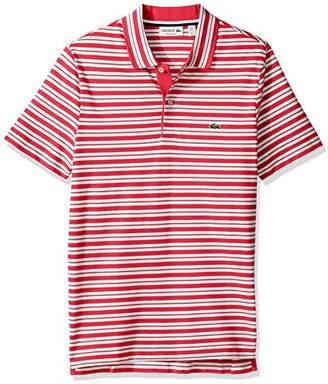 Lacoste Men's Short Sleeve Pique with Stripe Rib Collar Polo