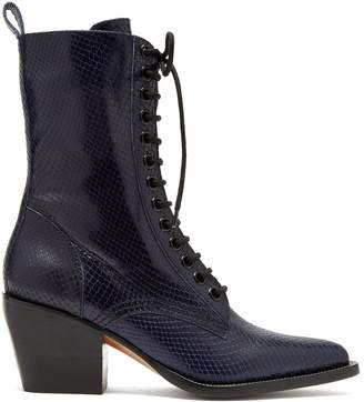 Chloé Snakeskin-effect lace-up leather boots