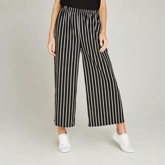Apricot Black Striped Elastic Waist Culottes