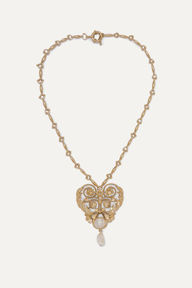 Etro Gold-tone, Crystal And Faux Pearl Necklace
