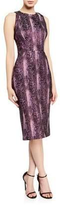 Zac Posen Metallic Python-Print High-Neck Cocktail Dress