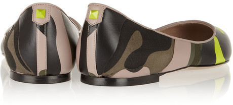 Valentino Camouflage-print leather and canvas point-toe flats