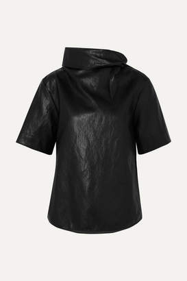 Cédric Charlier Cropped Tie-detailed Faux Leather T-shirt - Black