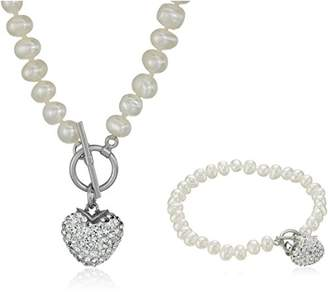 Sterling Silver Toggle Necklace and Bracelet Cultured Pearl Jewelry Set
