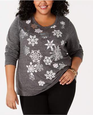Style&Co. Style & Co Plus Size Snowflake-Graphic Sweatshirt