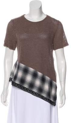 MM6 MAISON MARGIELA Wool Asymmetrical Short Sleeve Top