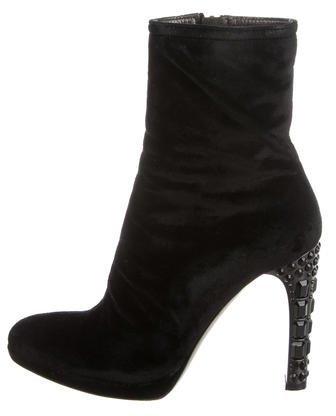 Miu MiuMiu Miu Velvet Embellished Ankle Boots