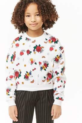 Forever 21 Girls Girls Rock Graphic Sweatshirt