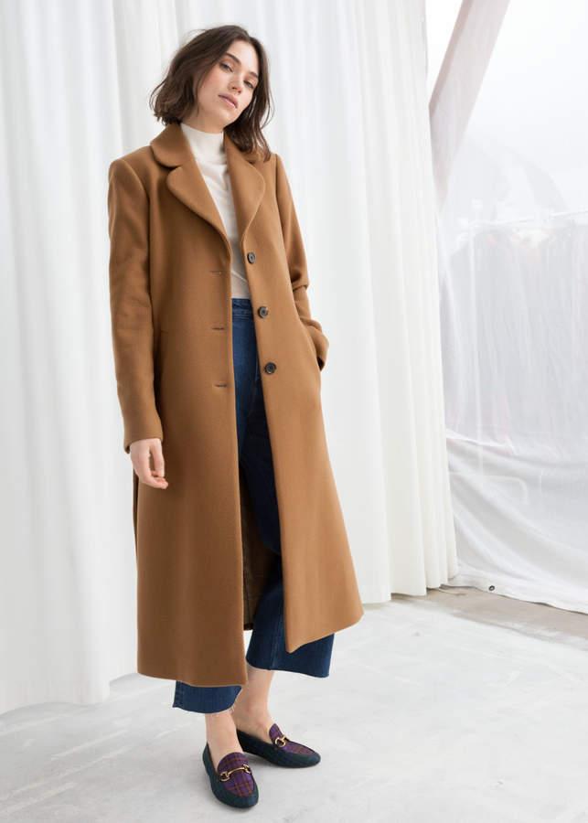 A-Line Wool Blend Belted Coat