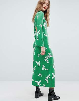 Asos Design Maxi Tea Dress With Open Back In Green Floral